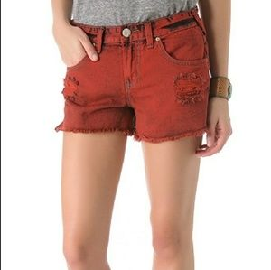 Free People Mid Rise Distressed Red Shorts